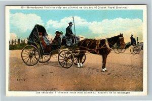 Montreal QC, Horsedrawn Vehicle, Mount Royal, Vintage Quebec Canada Postcard