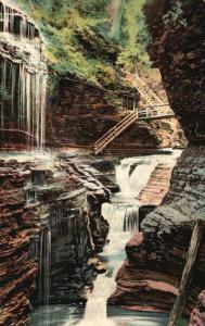 Watkins Glen, New York, NY, Rainbow Falls, 1908 Vintage Postcard f9306
