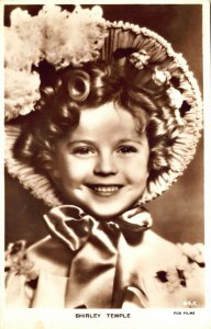 Shirley Temple Smiling Hat Fox films Real Photo Postcard 64.F.