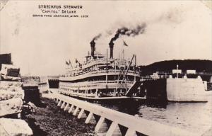 Real Photo Streckfus Steamer Capitol De Luxe Going Thru Hastings Minnesota