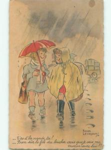 foreign Old Postcard signed FRENCH GIRLS WALKING UNDER UMBRELLA AC3179