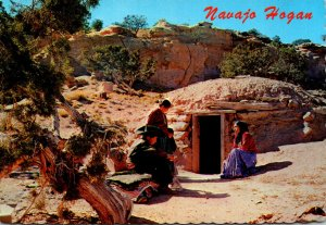 Navajo Indian Family At The Entrance Of Their Hogan