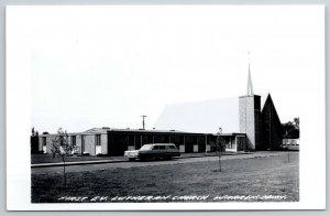 Warren MN~1960s Station Wagon @ 1st Evangelical Lutheran Church RPPC 1940s PC