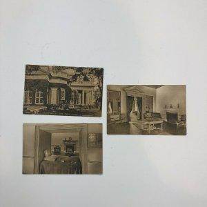 Lot Of 3 Monticello Thomas Jefferson  Home, Parlor, Portrait Postcard, Unposted