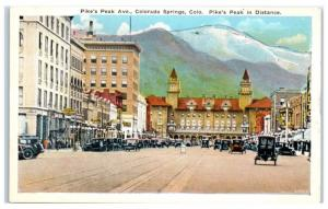 Early 1900s Pike's Peak Ave, Downtown Colorado Springs, CO Postcard
