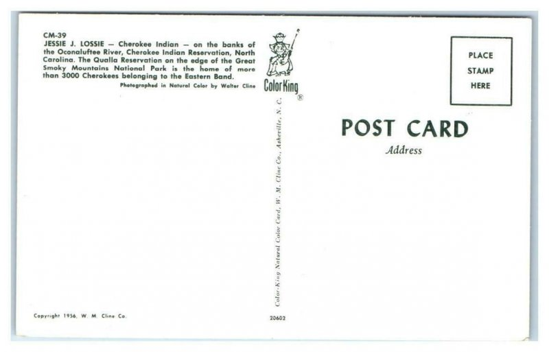 CHEROKEE INDIAN RESERVATION, NC ~ Native American  JESSIE LOSSIE 1956 Postcard