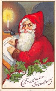 Christmas~Hooded Santa Writes in Naughty Nice Book~Candlelight~JEP Stecher 61 C