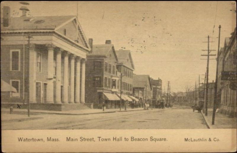 Watertown MA Main Street c1910 Postcard / HipPostcard