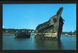 Boothbay Harbor, Maine/ME Postcard, Old Wrecked Schooners At Mill Cover