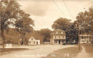 Alfred ME The Common Store Front Post Office Horse Through RPPC Postcard