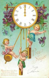 Happy New Year Postcard Angels and Clock 02.45