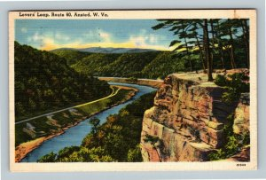 Ansted WV, Scenic View Lover's Leap Route 60, Linen West Virginia c1941 Postcard