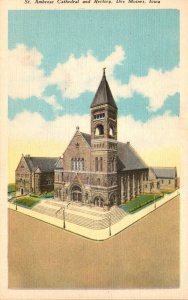 Iowa Des Moines St Ambrose Cathedral and Rectory 1942