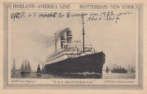 Holland-America Line Ocean Liner T.S.S. Rotterdam , 1922