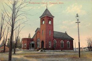 Plymouth Michigan Presbyterian Church Exterior Antique Postcard J78960