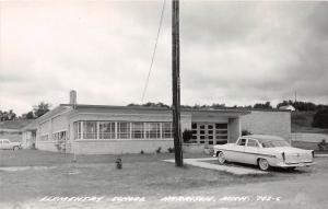 B17/ Harrison Michigan Mi Real Photo RPPC Postcard c50s Elementary School Auto