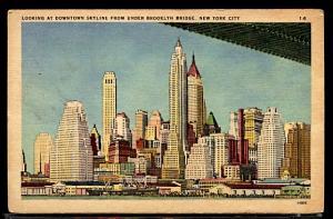 Skyline From the Brooklyn Bridge New York City