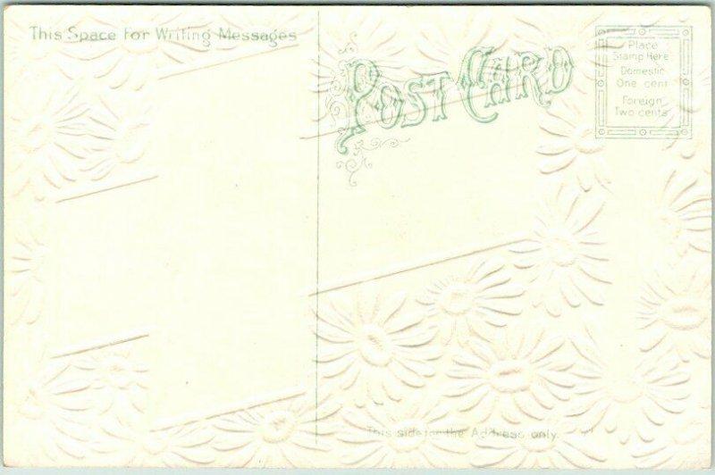 1910s EASTER GREETINGS Embossed Postcard Daisy Flowers Boy w/ Egg Basket UNUSED