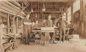 Real Photo People Working Wood Workers Unused