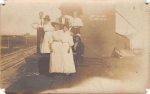 Northland Elevator Co~Martha Rustad~Della Soper~Mabel Bacon~RR Tracks~c1910 RPPC