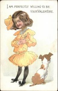 Buster Brown - Mary in Yellow Dress TUCK Valentine c1910 Postcard OUTCAULT