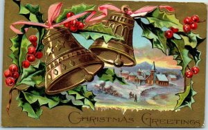 Vintage CHRISTMAS GREETINGS Postcard Gold Bells / Town Panorama View - 1910