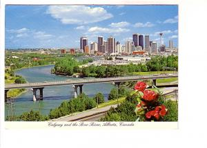 Bridge over the Bow River and City View, Calgary, Alberta, Photo M Miller