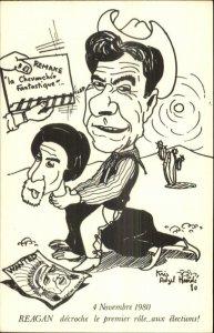 Satire President Ronald Reagan Riding Choking the Ayatollah Iran Postcard xst