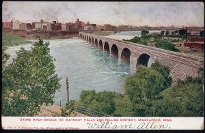 MN MINNEAPOLIS Stone Arch Bridge St Anthony Falls and Milling District DB 1908