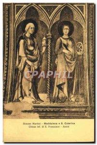 Postcard Old Francesco Assisi Simone Martini Maddalena Chiesa e S Catherina