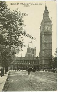 London, Houses of Parliament and Big Ben, early 1900s used