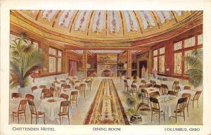 Columbus Ohio~Chittenden Hotel-Dining Room~Fancy Carpet & Ceiling~Plants~1920s