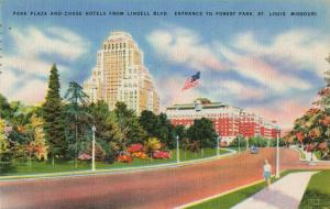 Postcard Park Plaza and Chase Hotels St Louis Missouri