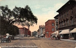 Main Street in Waltham, Massachusetts looking West from Church St..