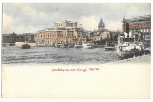 Stockholm, Jacob Church and the Royal Opera PPC Unposted, Early Swedish Card