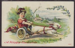 A Happy Eastertide,Girl in Rabbit Cart Postcard