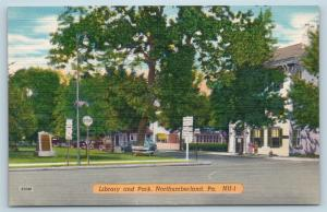 Postcard PA Northumberland Library and Park Street View Vintage Linen I23