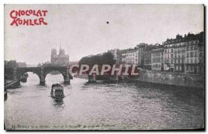 Old Postcard Paris Chocolat Kohler Bridge Spinner and boat dock Bethine barge...