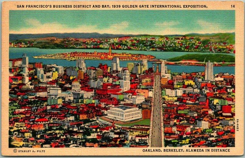 1939 San Francisco GGIE Expo Postcard Business District & Bay Linen Unused