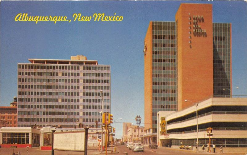 Albuquerque New Mexico~Fourth Street North~Simms Building~Bank~1960s Postcard