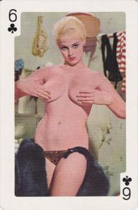 Nude Pin-up Play Card 1950s ; 6 of clubs