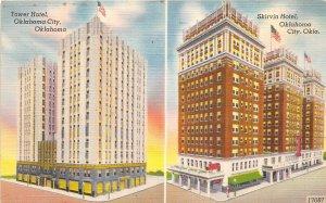 Oklahoma City Oklahoma 1956 Postcard Tower Hotel & Skirvin Hotel