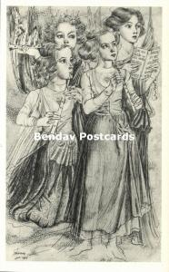 Dutch Symbolist JAN TOOROP - Christmas Triptych I Singing Angels (1940s)