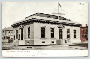 Fond du Lac Wisconsin~US Post Office~Lady Comes Down Steps~Flag on Roof~1907