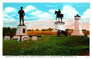 Pennsylvania Gettysburg   Staues of gen. Buford, Gen.Reynold's and Hall&...