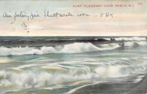 Pleasant View Rhode Island Waterfront Surf Antique Postcard K80956
