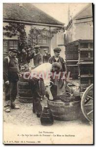 Old Postcard Folklore Wine Vineyard Harvest Good juice runs the press The set...