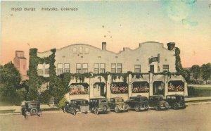 Albertype Holyoke Colorado hand colored Hotel Burge roadside Postcard 10866