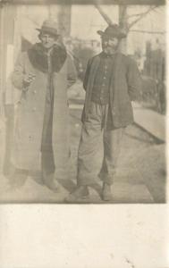 RPPC Yokel w/Long Coat, Fur Collar, Cigar~Bearded Bumpkin w/Striped Pants~c1918