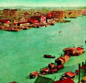 China Pearl River Aerial View Boats Birds UNP 1910s Vtg Postcard